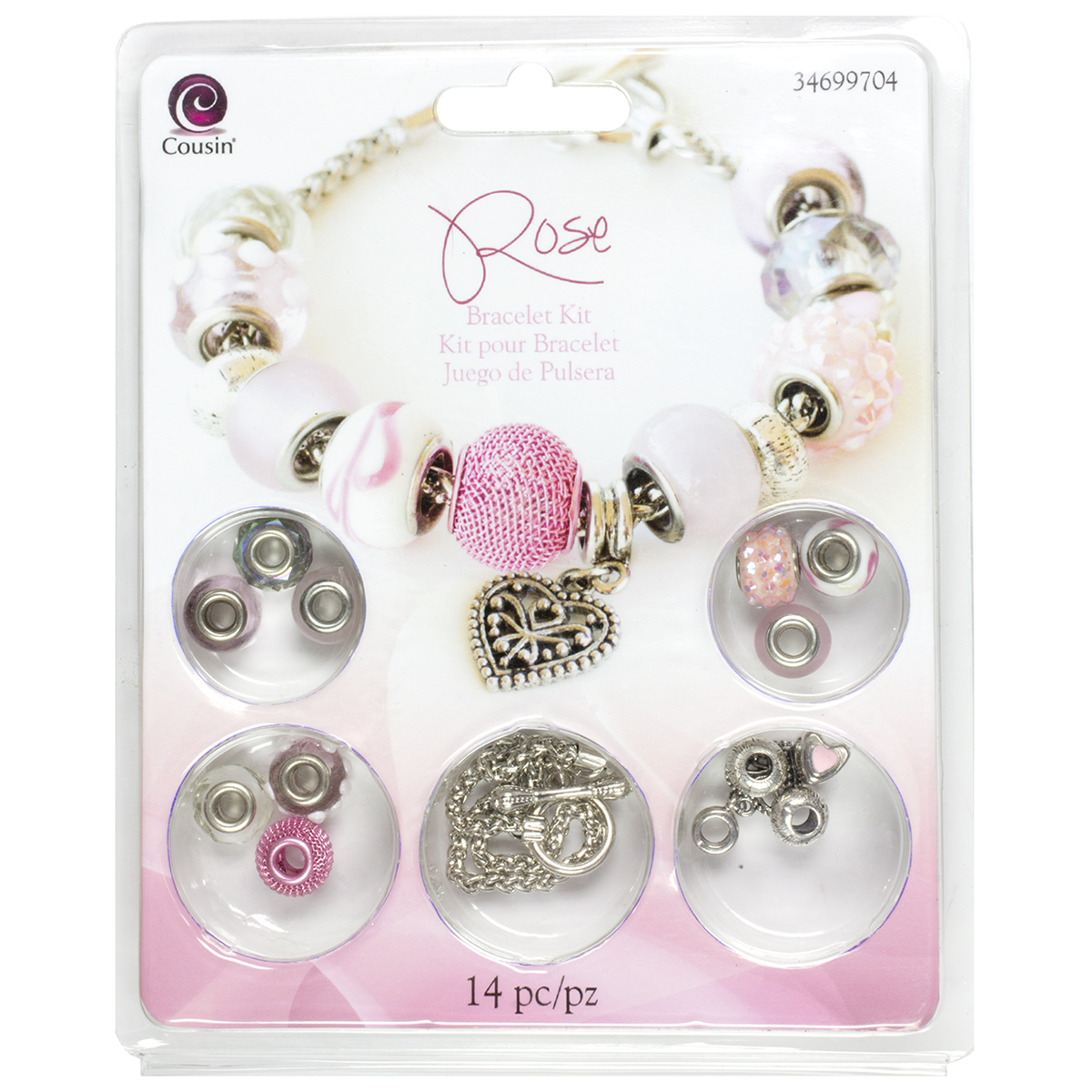 Large Hole Bracelet Kit-Rose 14pcs