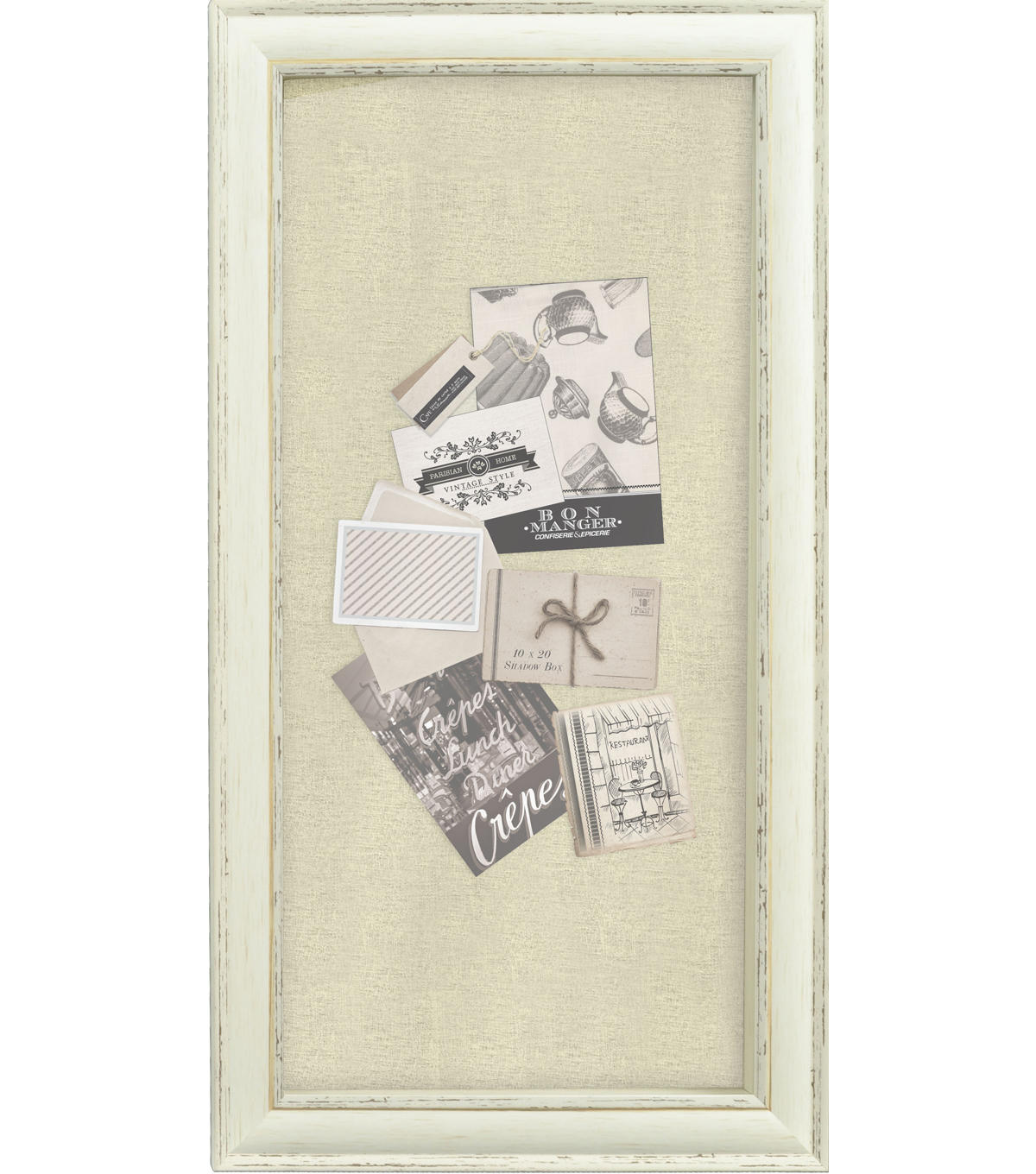 Shadowbox Frame 10 X20-Distressed Cream