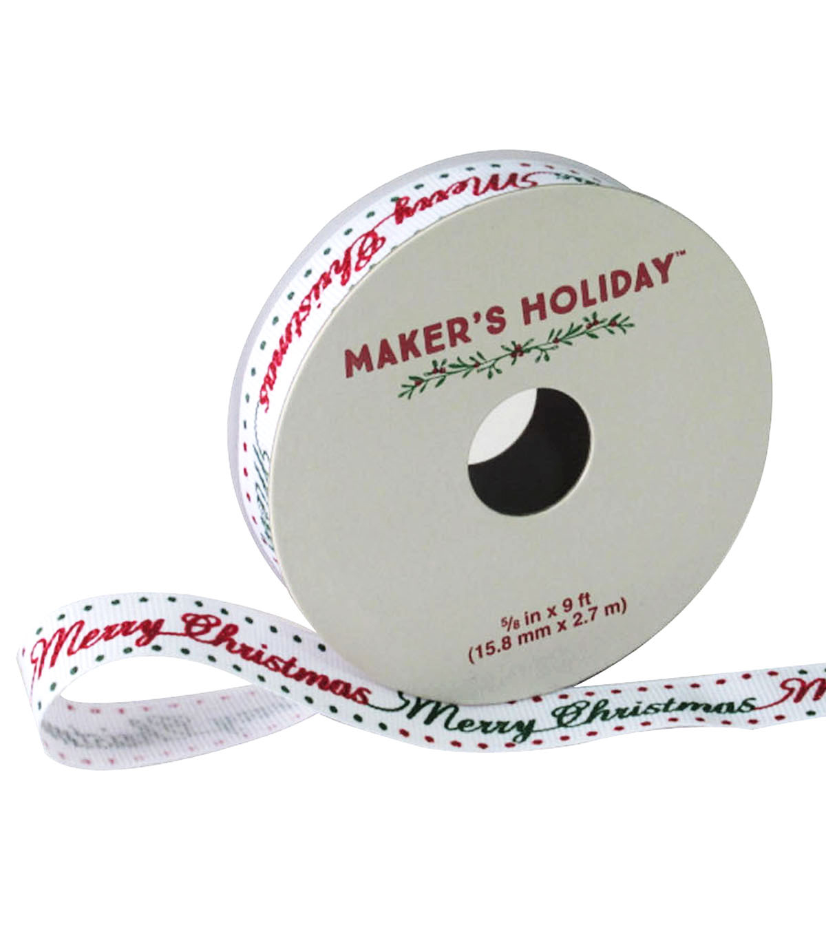 Maker\u0027s Holiday Ribbon 5/8\u0027\u0027x9\u0027-Red & Green Merry Christmas