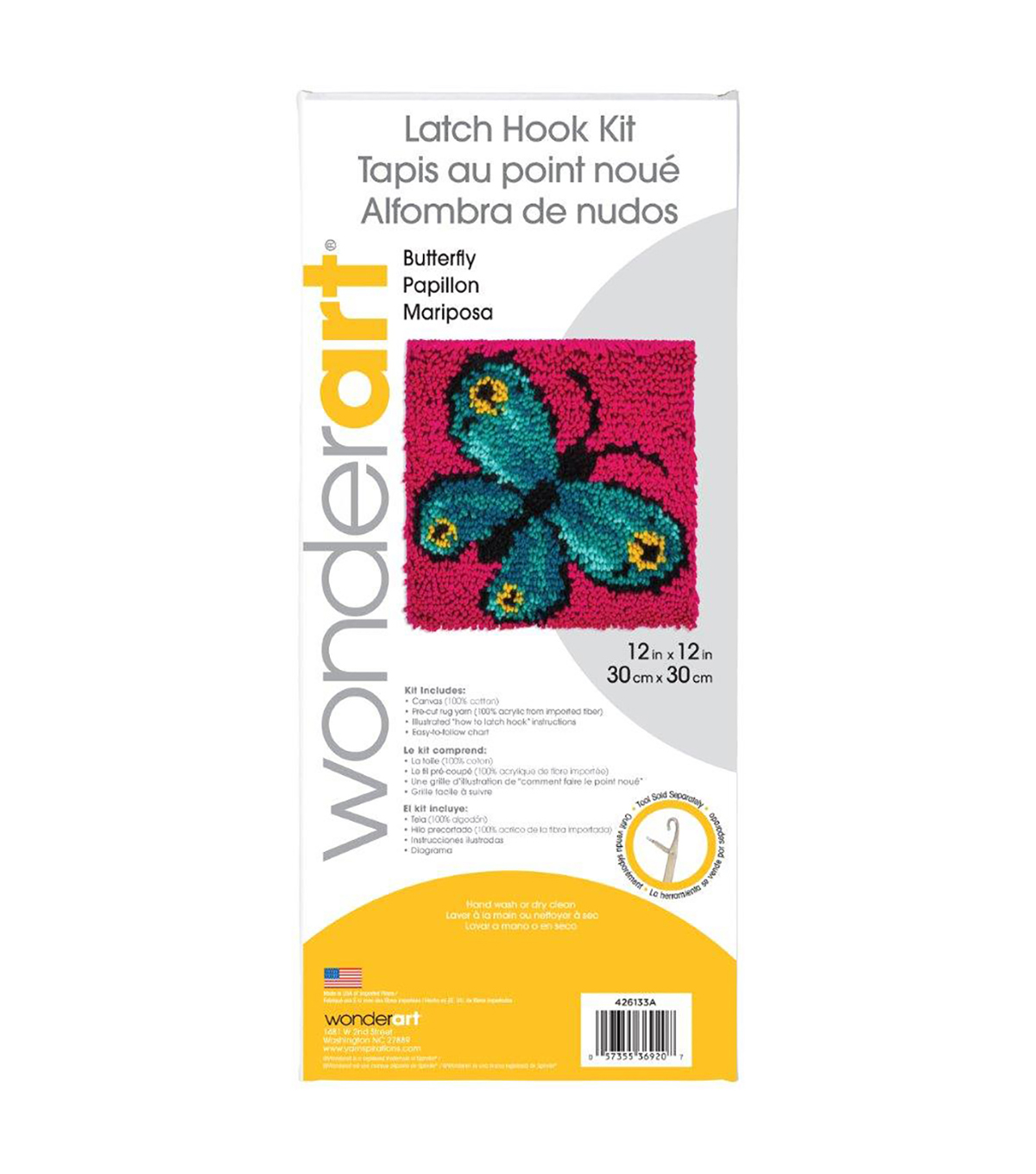 Wonderart Latch Hook Kit 12\u0022X12\u0022-Butterfly