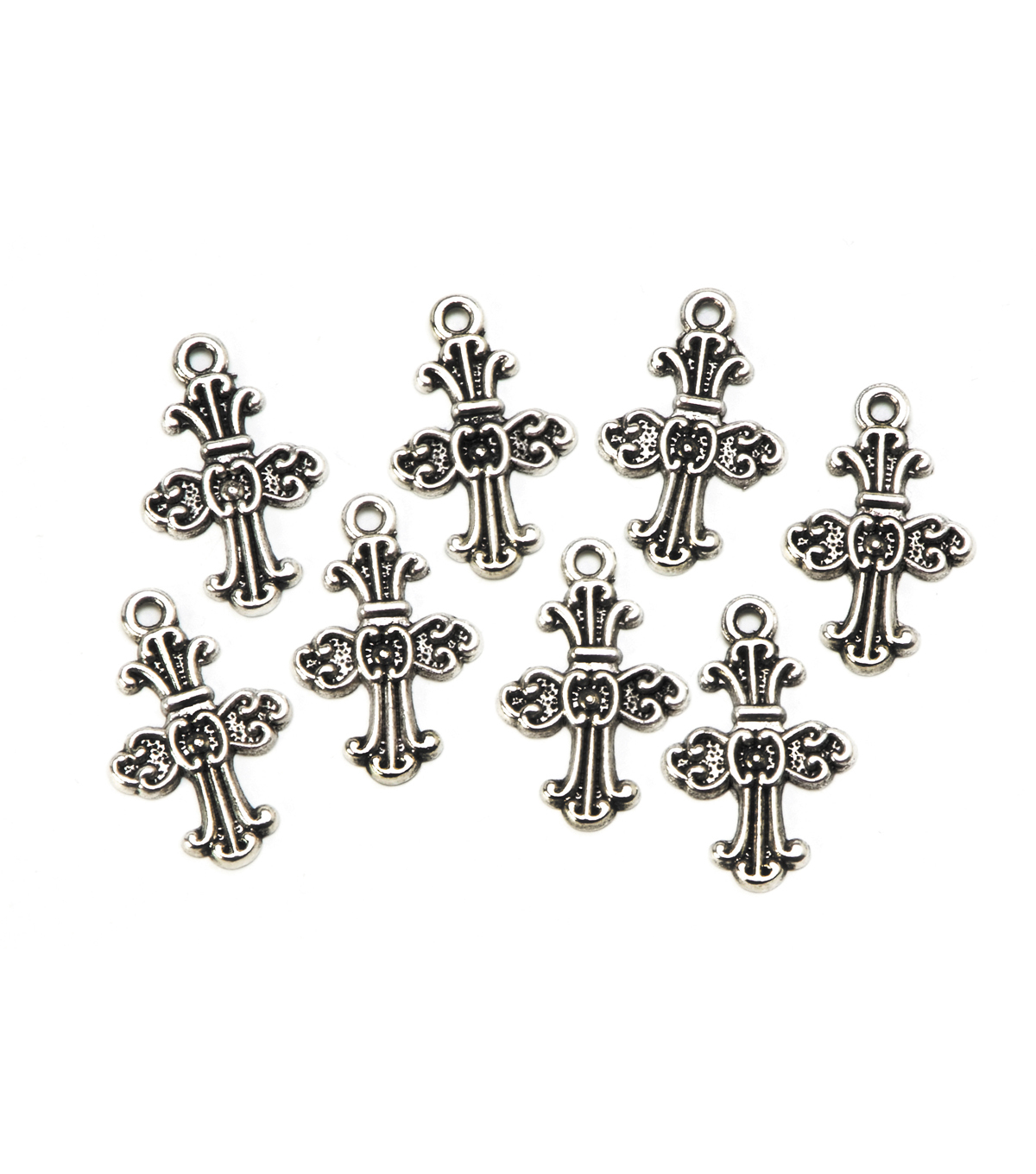 Cast Metal Cross Charms, Antique Silver Finish