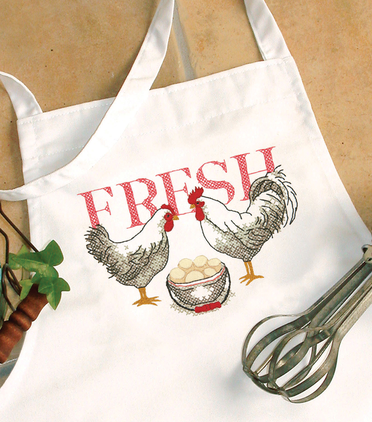"Stamped Cross Stitch Apron 33""X36""-Rooster"