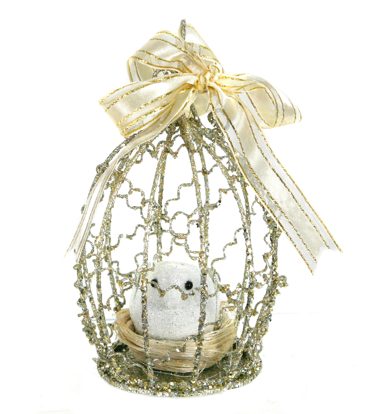 Maker\u0027s Holiday Bird Nest in Cage Ornament