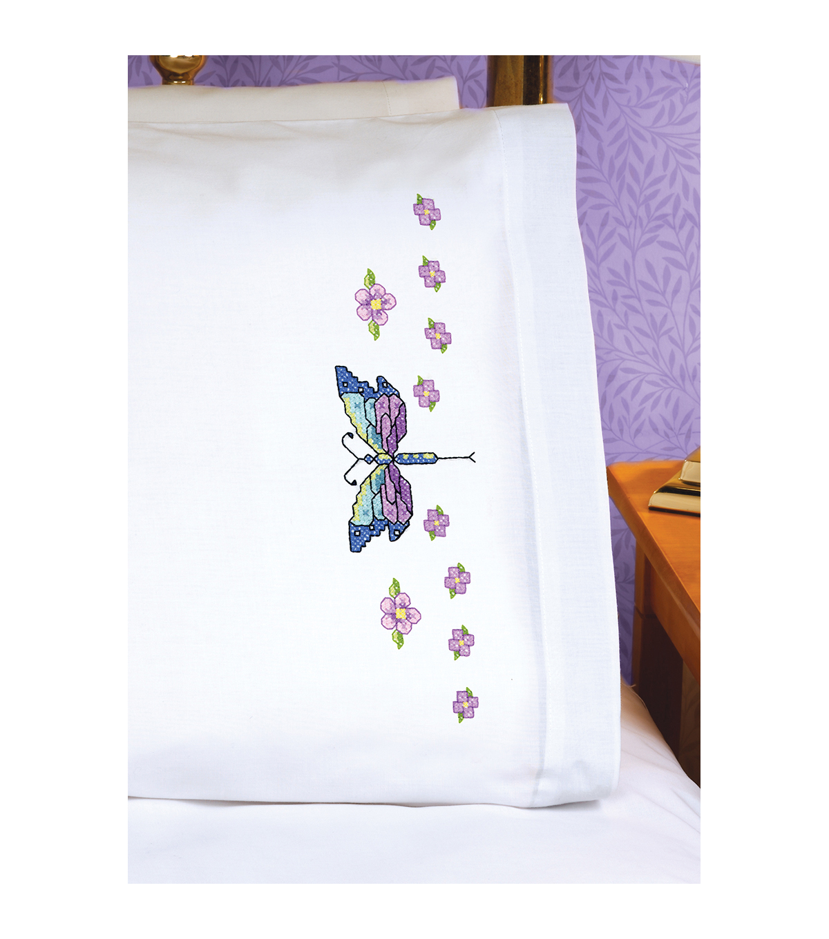 Dragonfly Pillowcase Pair Stamped Cross Stitch-20\u0022X30\u0022