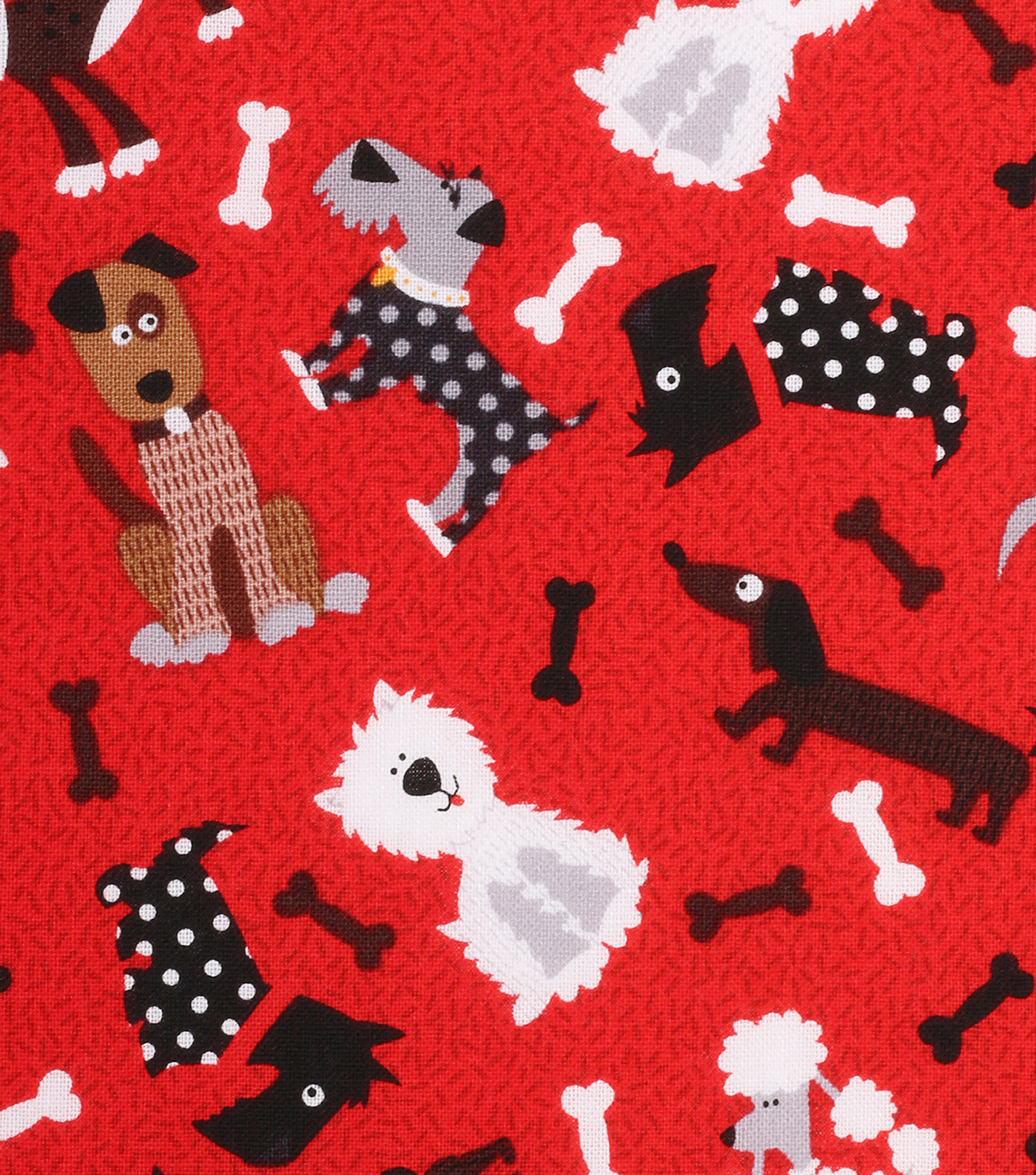 Novelty Cotton Fabric 43\u0022-Tossed Dogs On Red