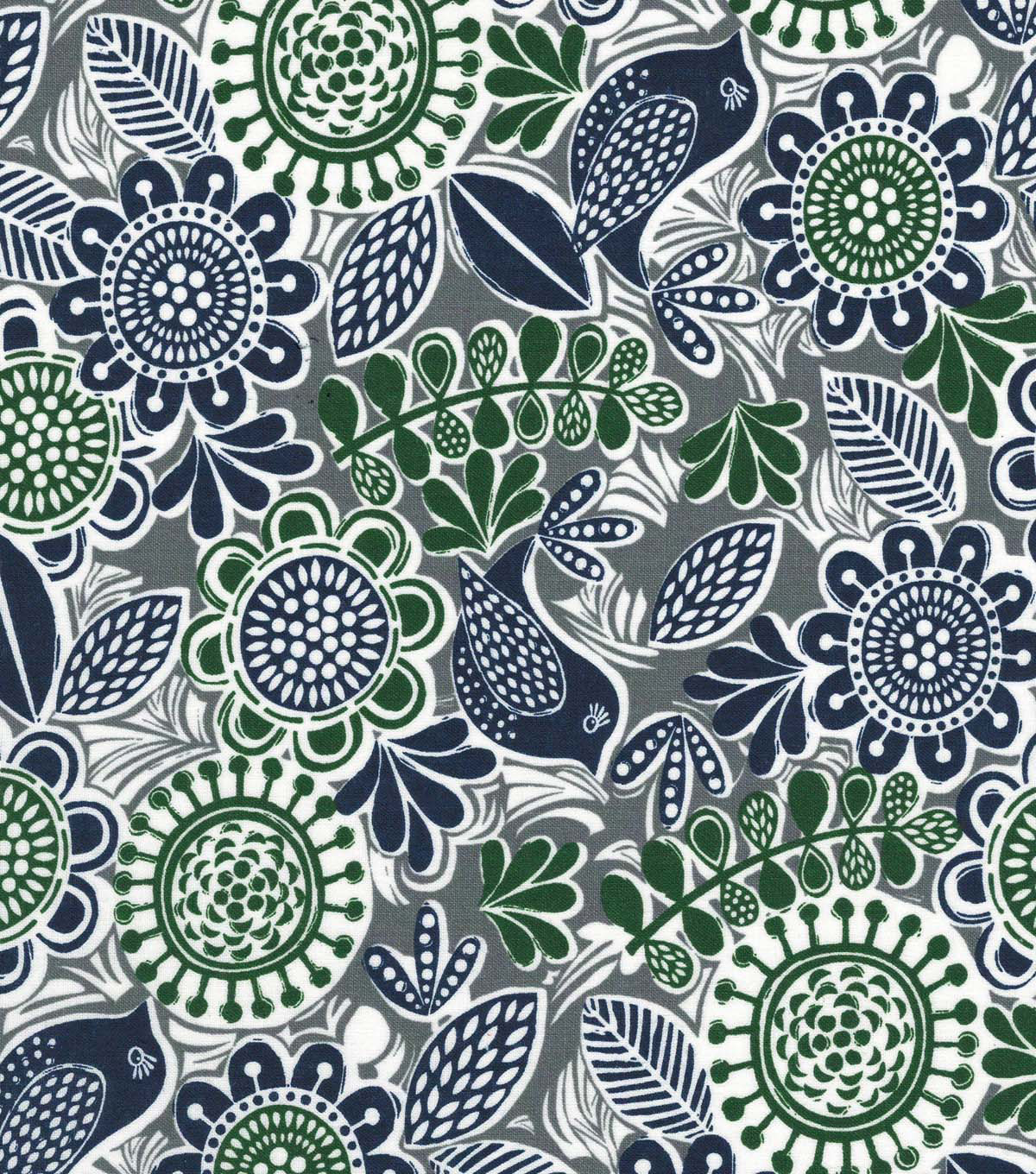 Quilter\u0027s Showcase™ Cotton Fabric 44\u0022-Green Navy Floral Birds