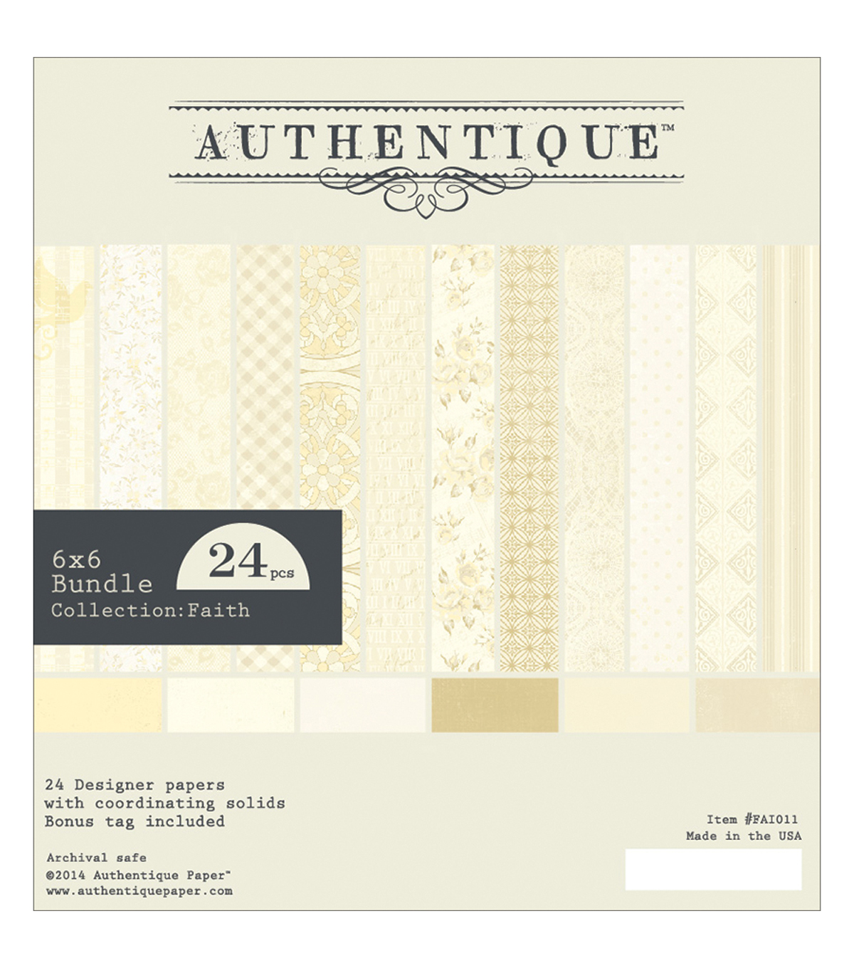 Authentique Bundle Cardstock Pad 6\u0022X6\u0022 24/Pkg-Faith