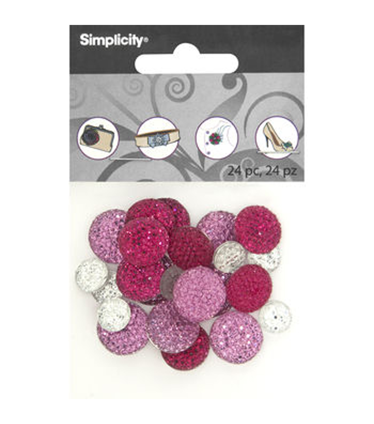 DIY Accessories Round Pave Gemstones, 24 pcs