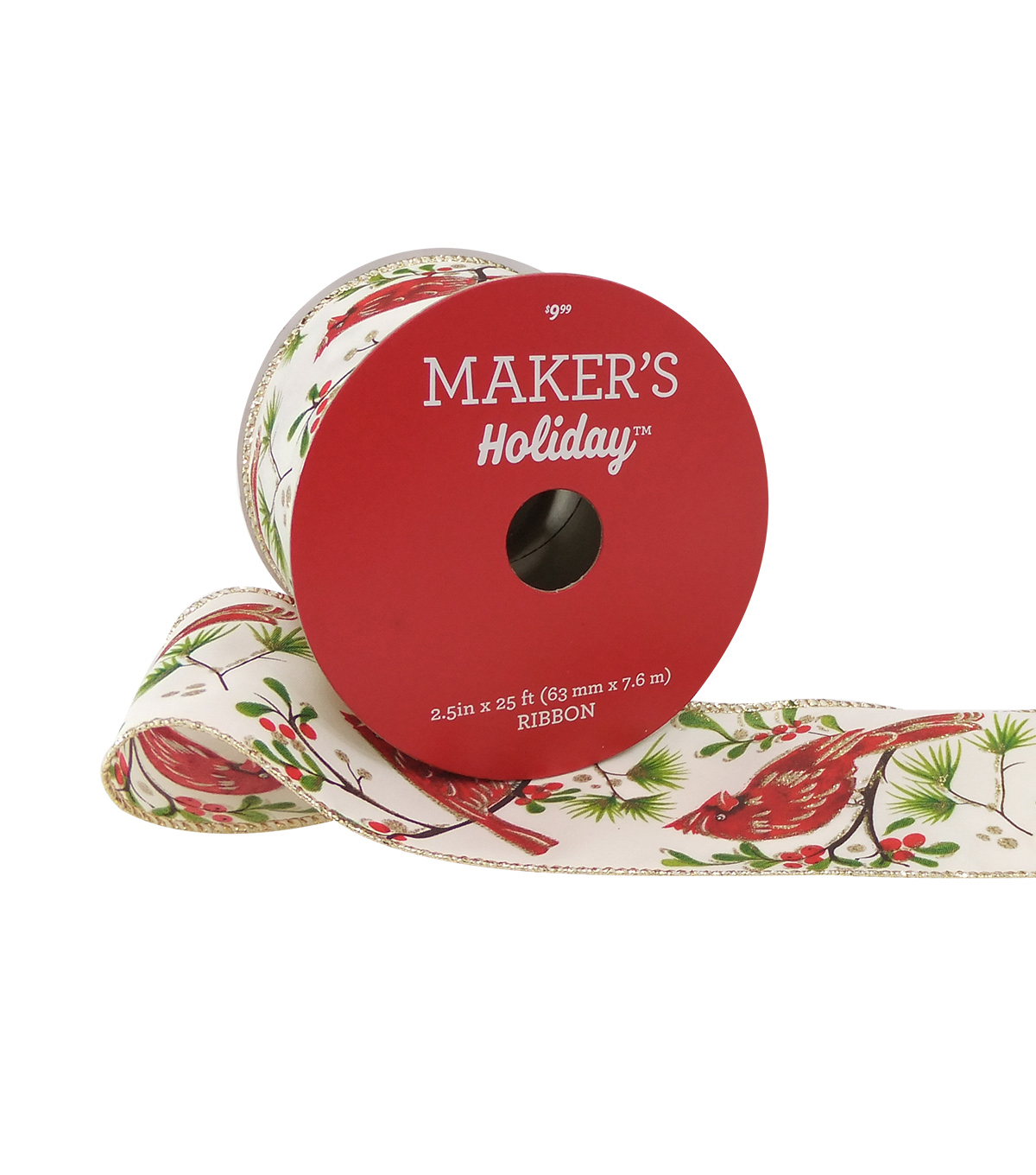 Maker's Holiday Christmas Ribbon 2.5''x25'-Red Birds & Berry