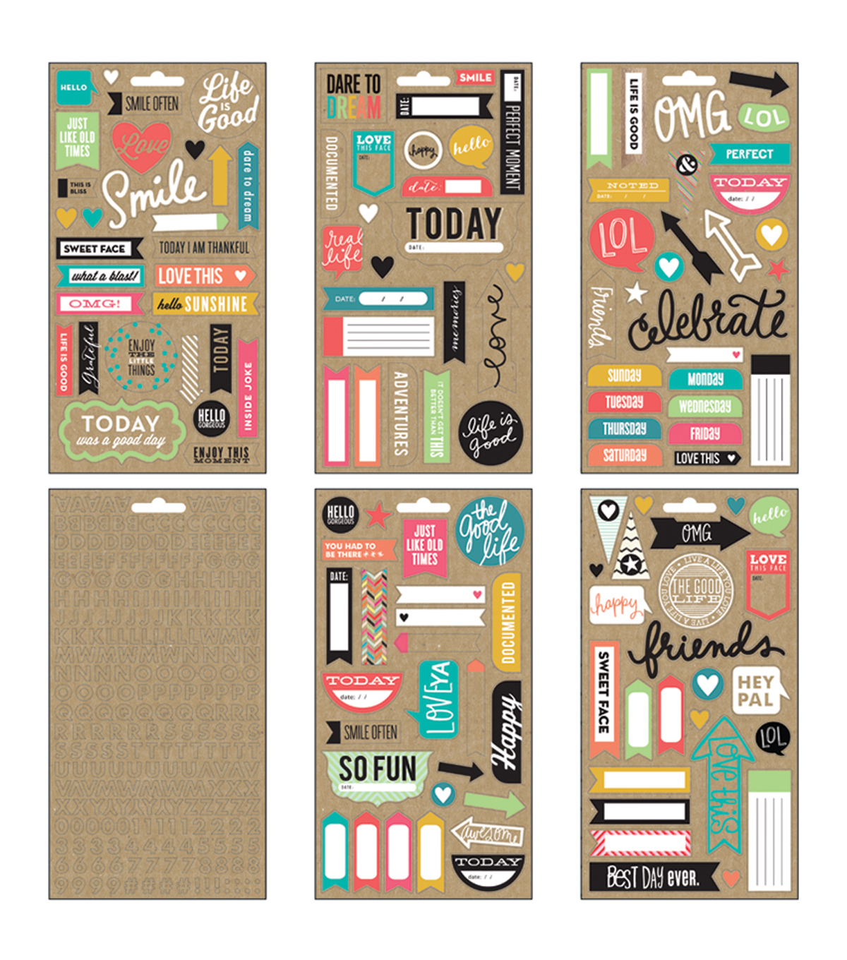 Me & My Big Ideas Pocket Pages Clear Stickers 6 Sheets/Pkg-Smile