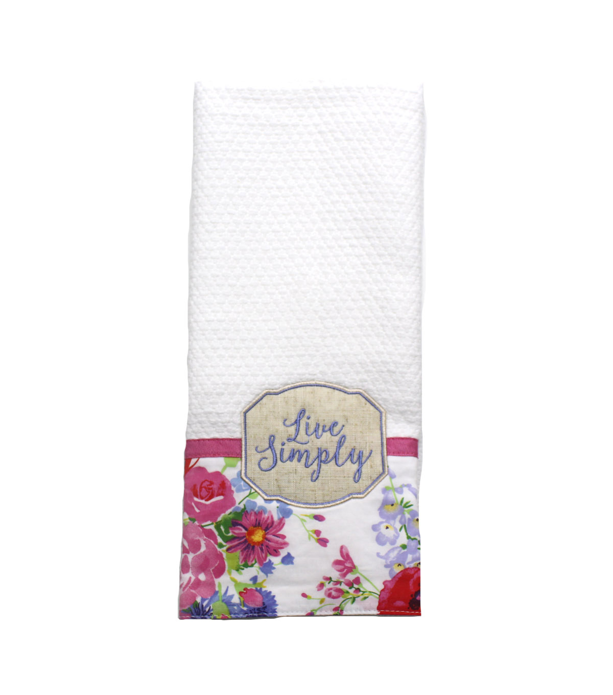 Wild Blooms 16\u0027\u0027x28\u0027\u0027 Dobby Terry Towel-Live Simply on White