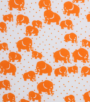 "1930's Cotton Fabric 43""-Dotted Elephants Orange"