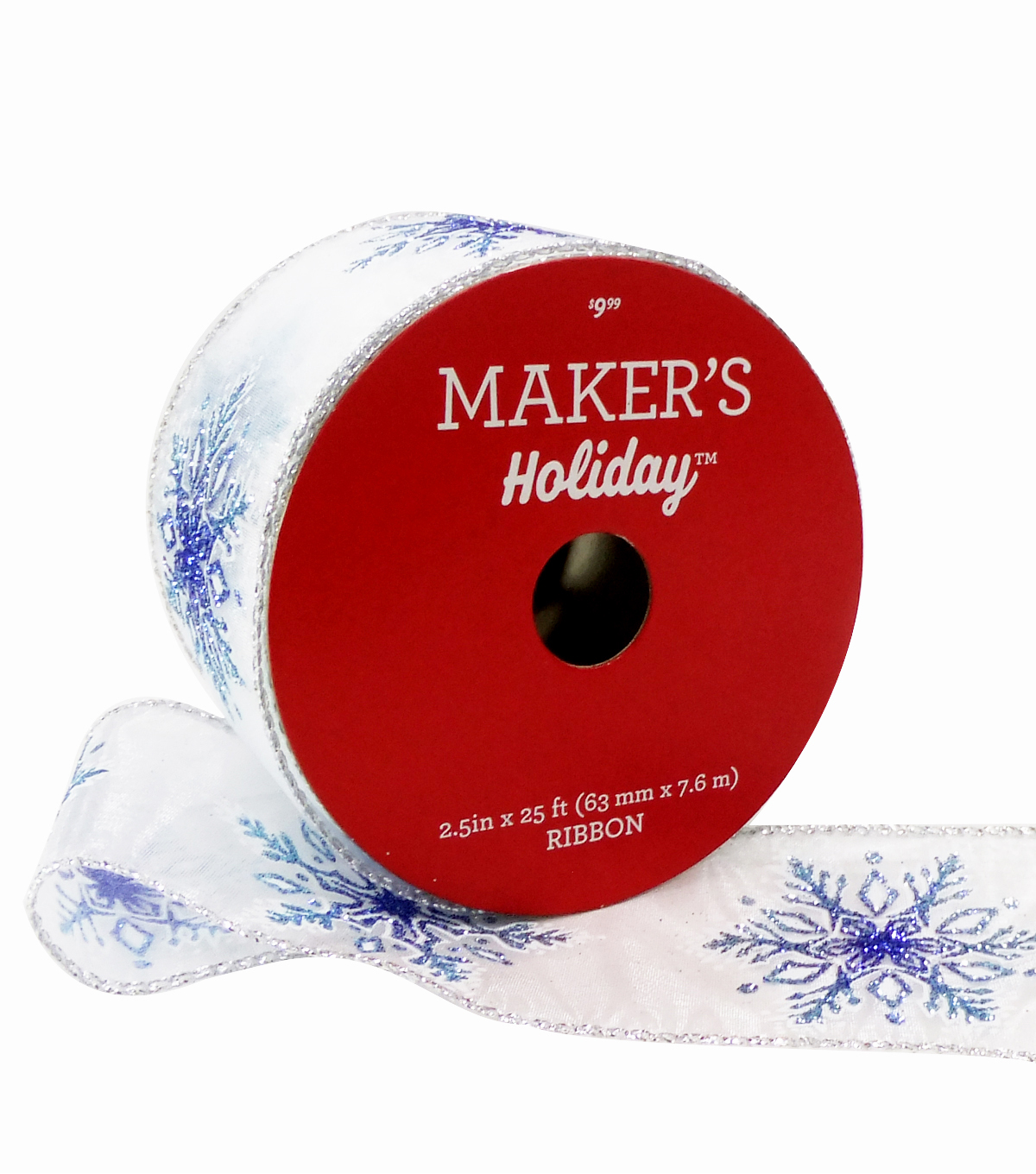Maker's Holiday Christmas Ribbon 2.5''X25'-Blue Glitter Snowflakes