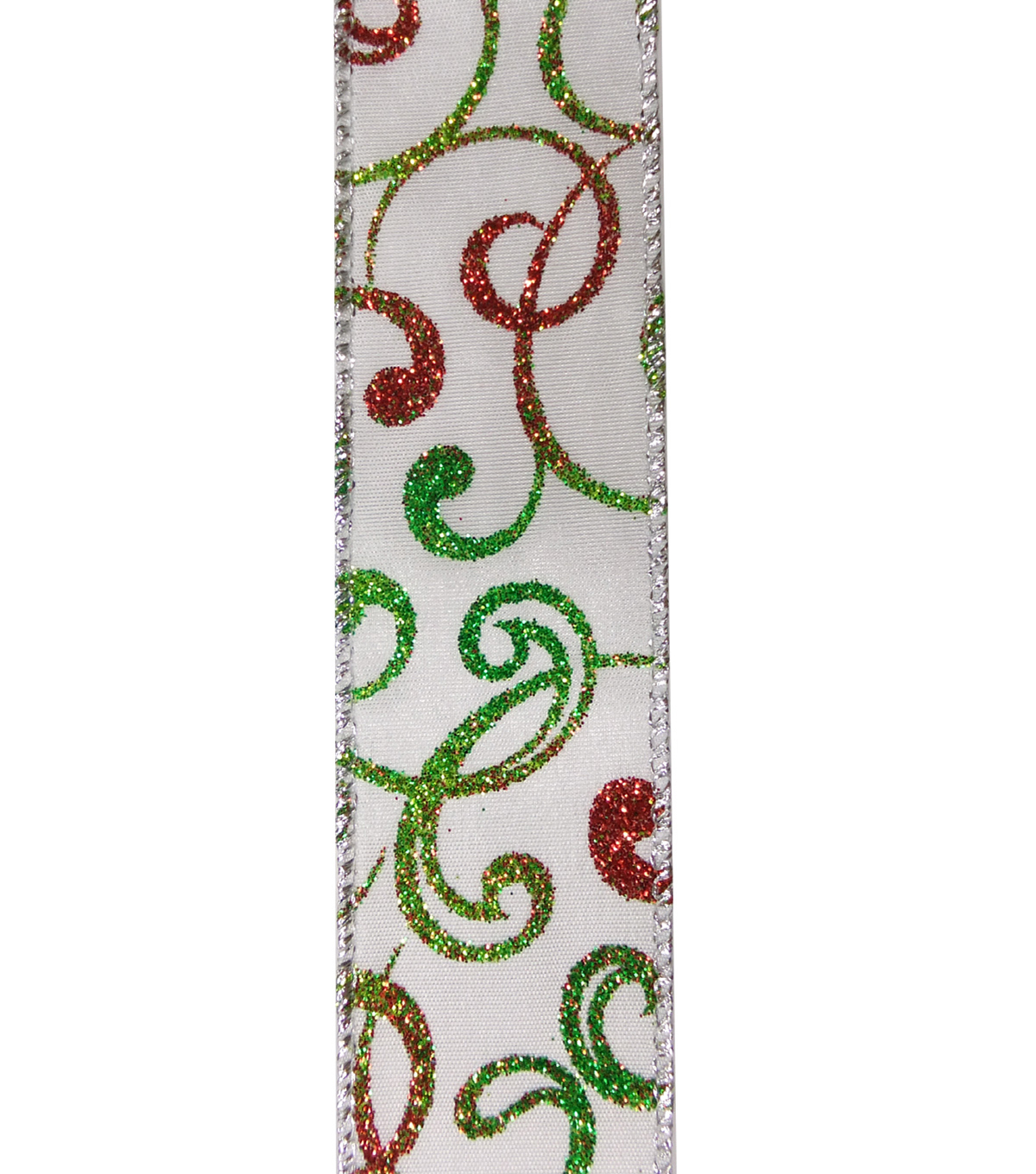 Maker\u0027s Holiday Christmas Ribbon 1.5\u0027\u0027x30\u0027-Ombre Glitter Swirl on White