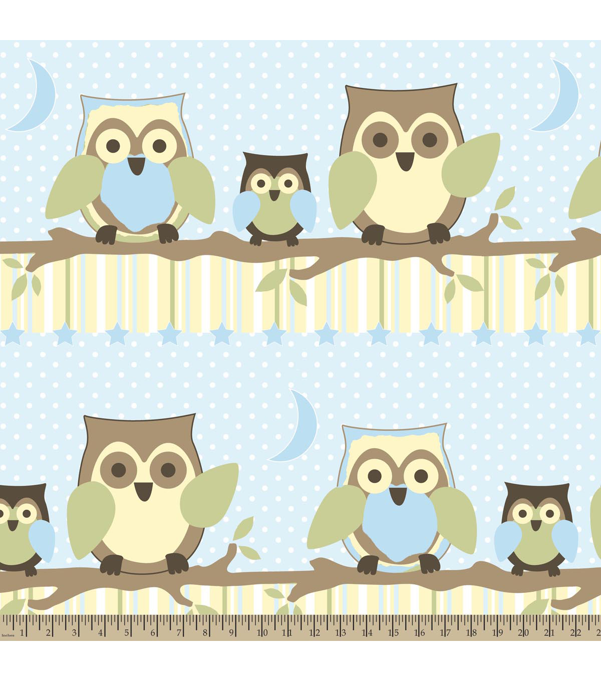 Nursery Fleece Fabric-Owl Branches Blue