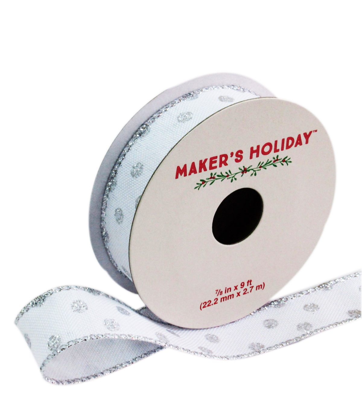 Maker's Holiday Wired Ribbon 7/8''x9'-White With Silver Dot