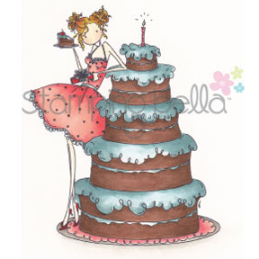 Stamping Bella Cling Rubber Stamp Uptown Girl Bianca Loves Her Big Cake
