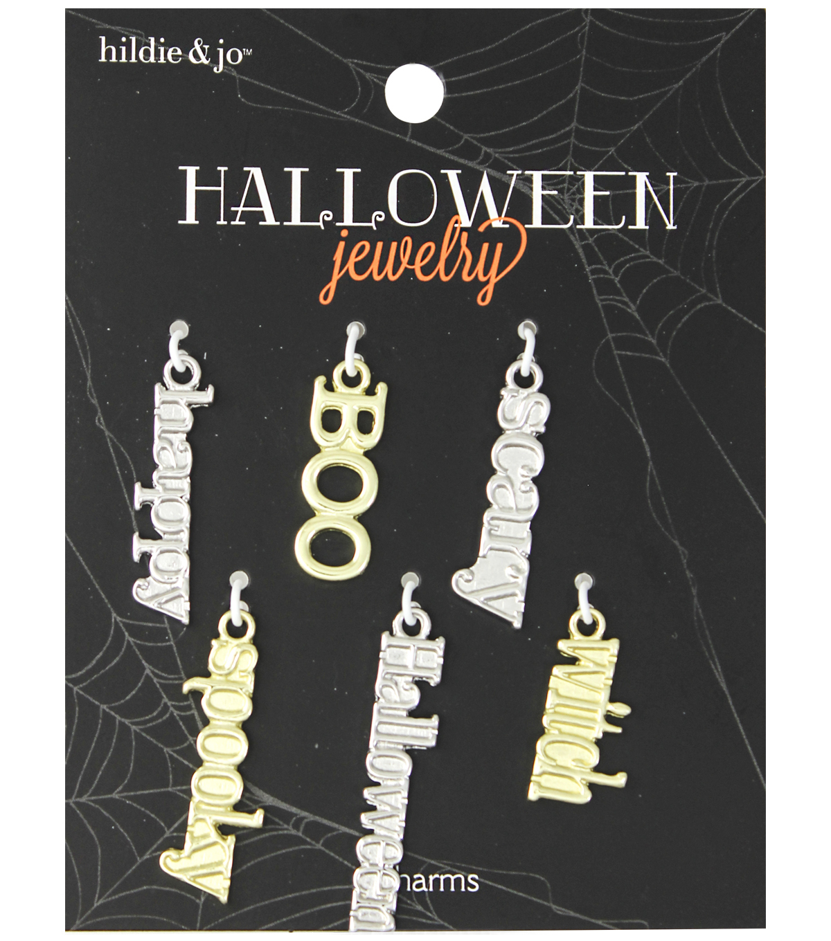hildie & jo™ Halloween 6 Pack Scary Words Charms