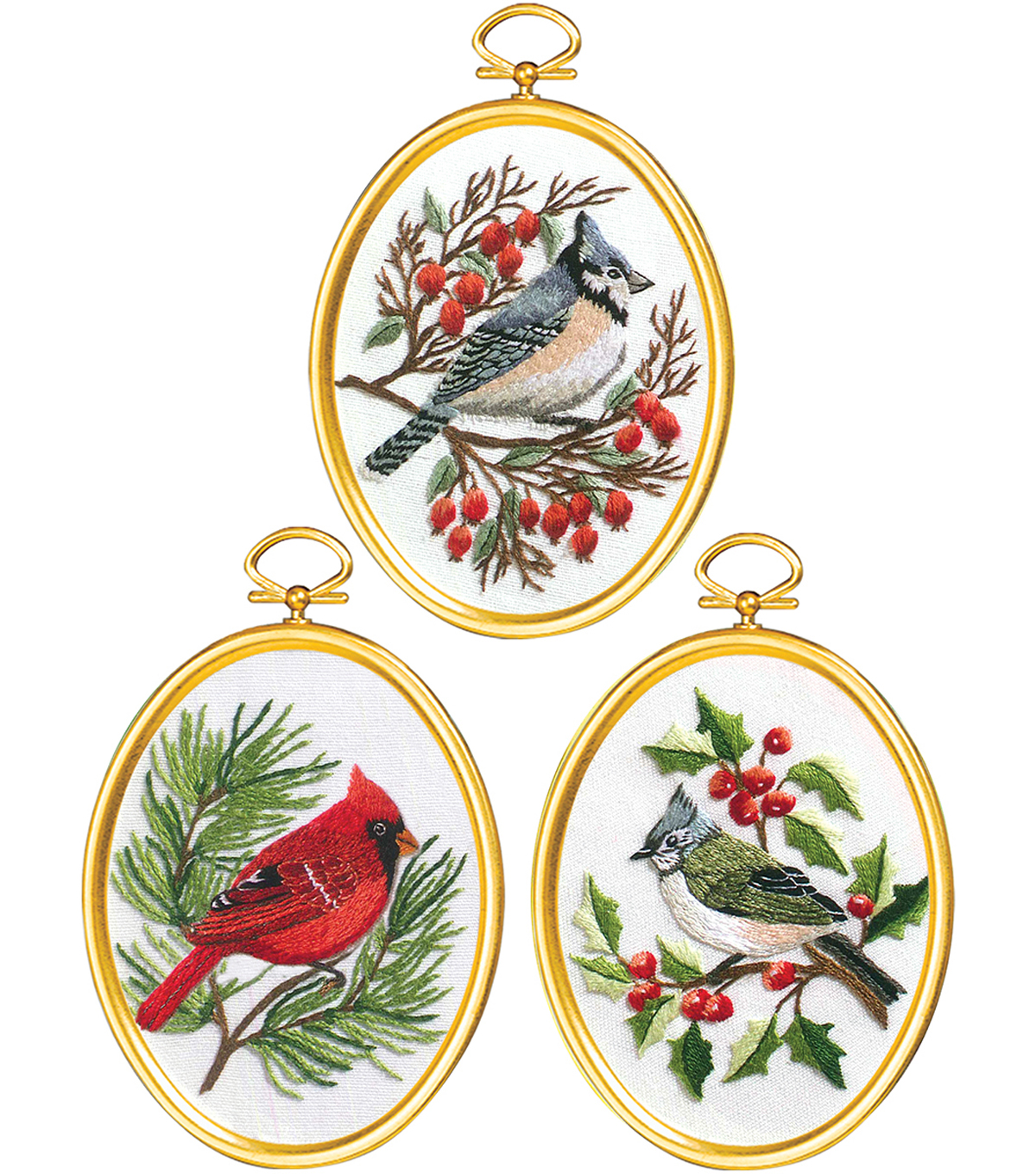 Winter Birds Embroidery Kit Set Of 3-3\u0022X4\u0022 Stitched In Floss