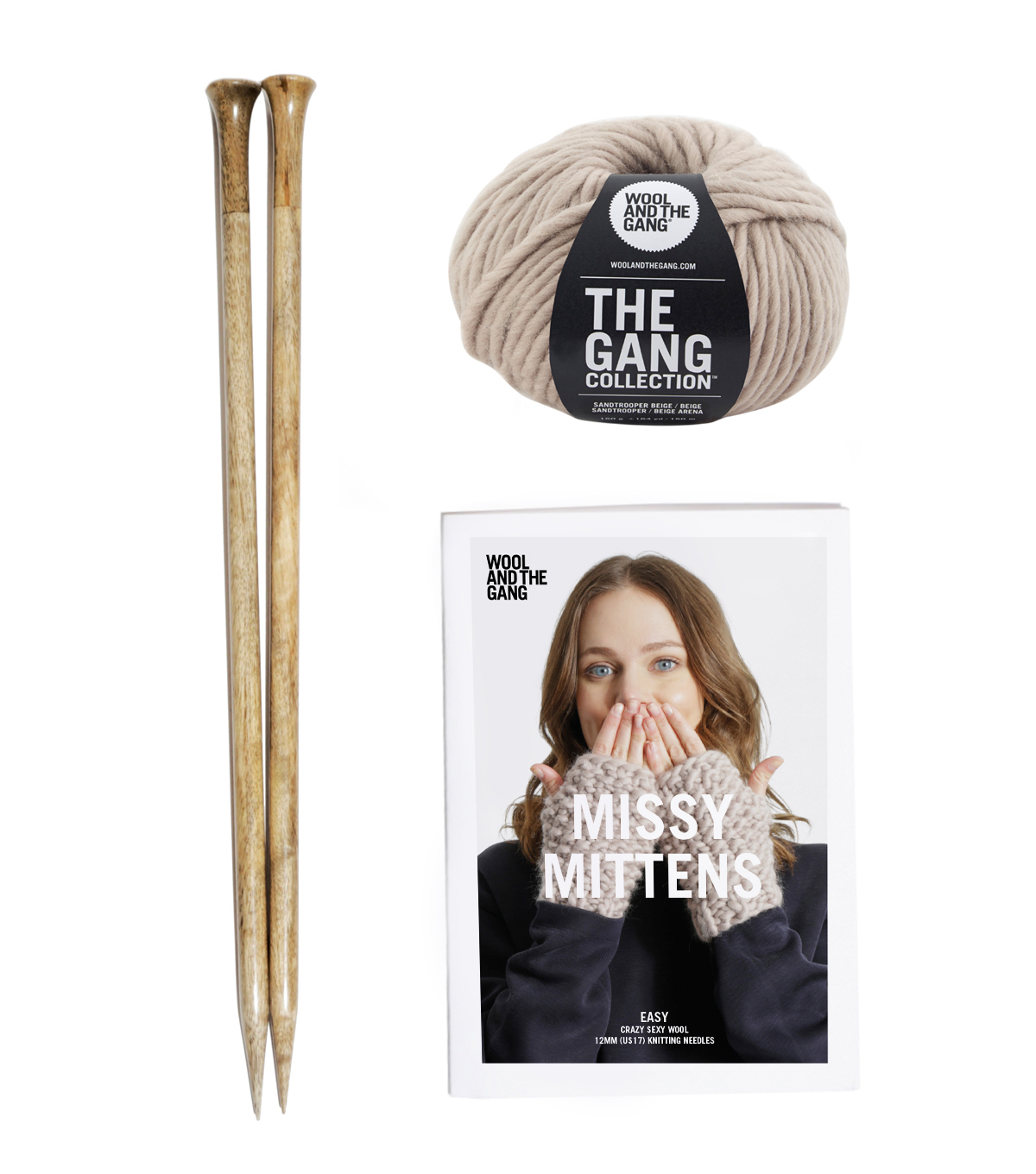 Wool And The Gang Missy Mittens Knit Kit-Sand Trooper Beige
