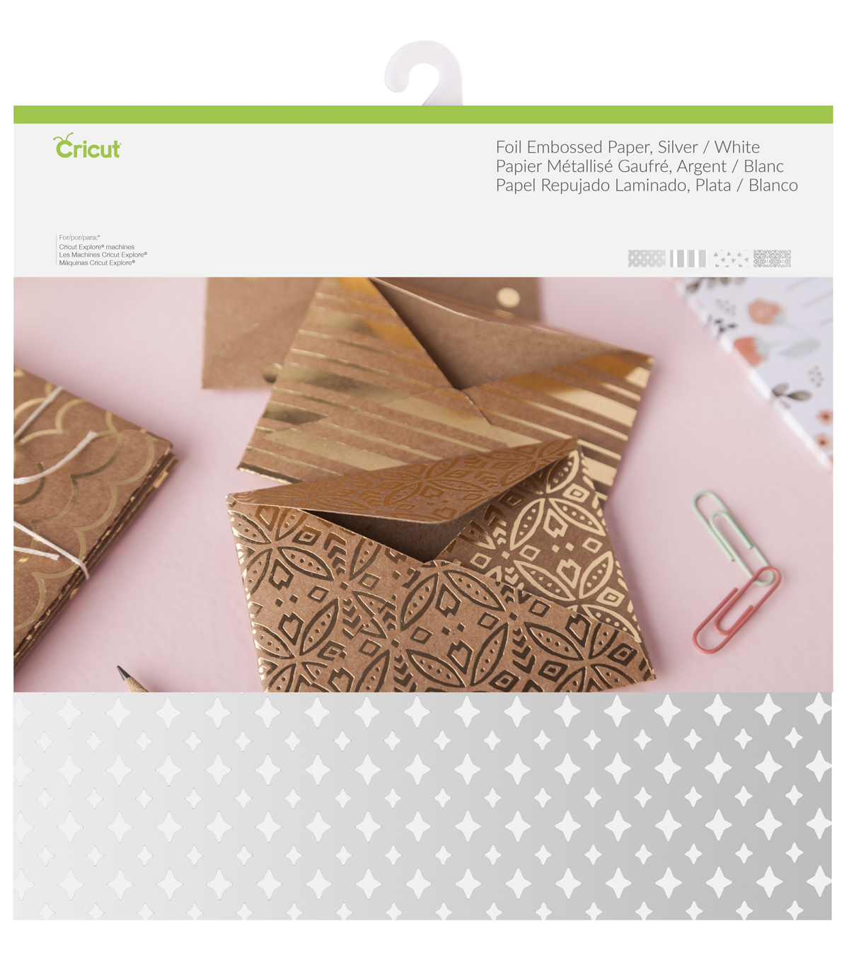 Cricut® 12 Pack 12\u0027\u0027x12\u0027\u0027 Deluxe Foil Embossed Papers-Silver & White