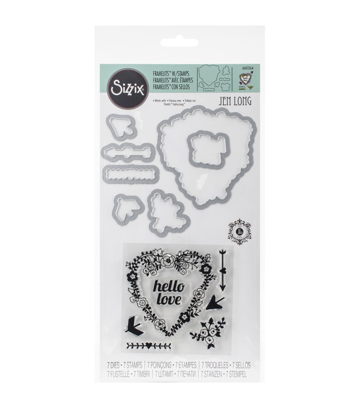 Sizzix Framelits Hello Love Dies With Stamps