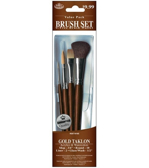 Value Pack Brush Sets-Gold Taklon Set W/ Mop