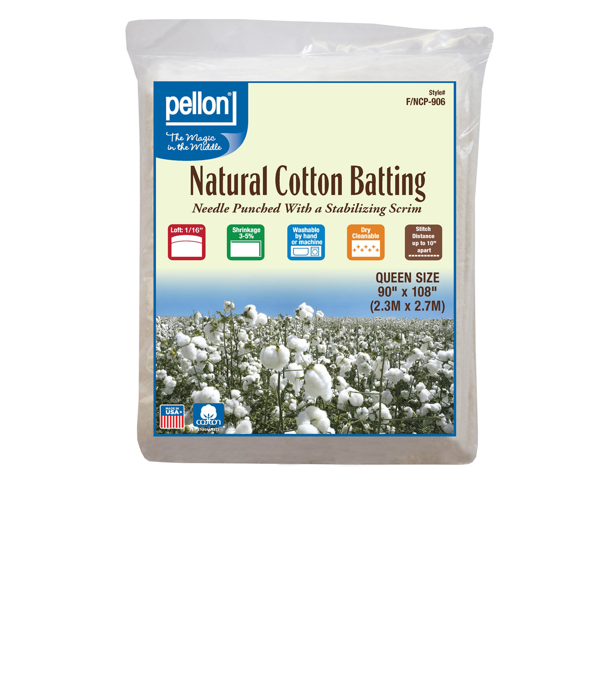 Pellon Nature\u0027s Touch Cotton Batting 90\u0022x108\u0022