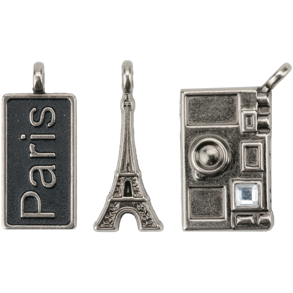 "Paris Metal Charms 1""X.5"" To 1""X.75"" 3/Pkg-Paris Tag/Eiffel Tower/Camera"