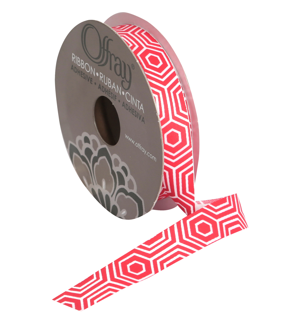 "Offray 5/8"" x 9' Geo Ribbon-Red"