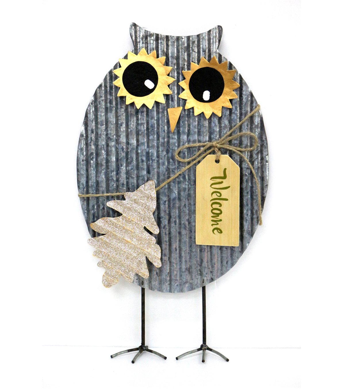 Fall Into Color Metal Standing Owl Porch Sitter-Welcome
