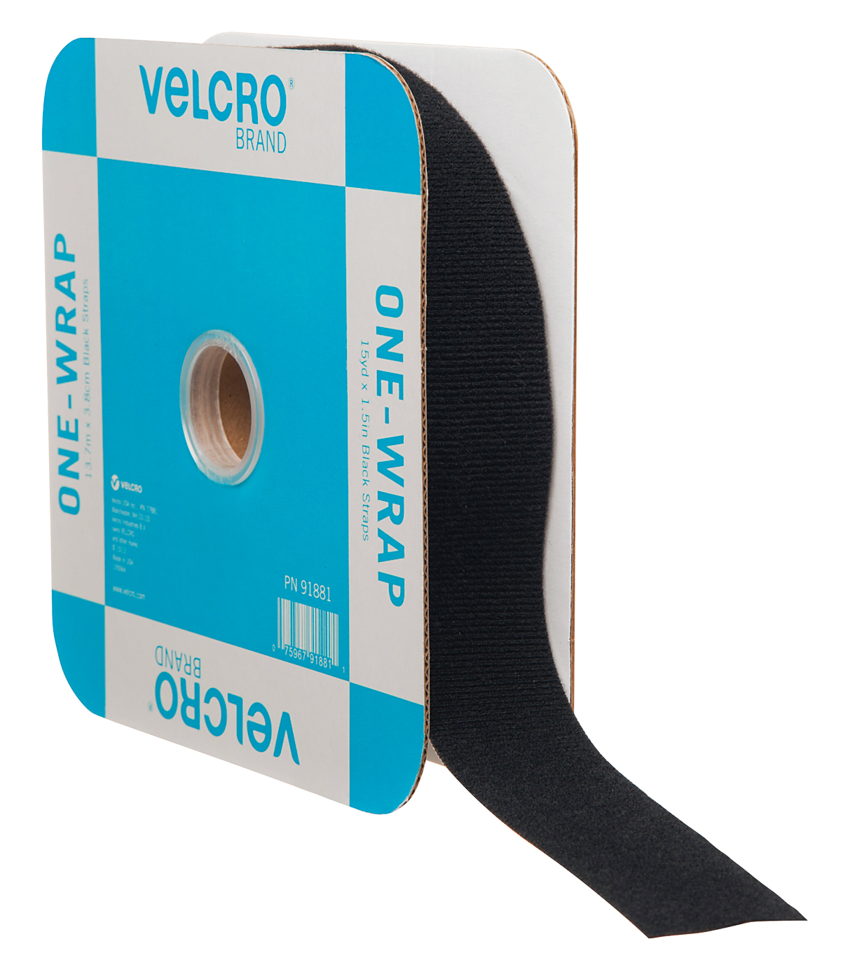 VELCRO® Brand ONE-WRAP® Roll 45ft x 1 1/2in Tape, Black, Flange