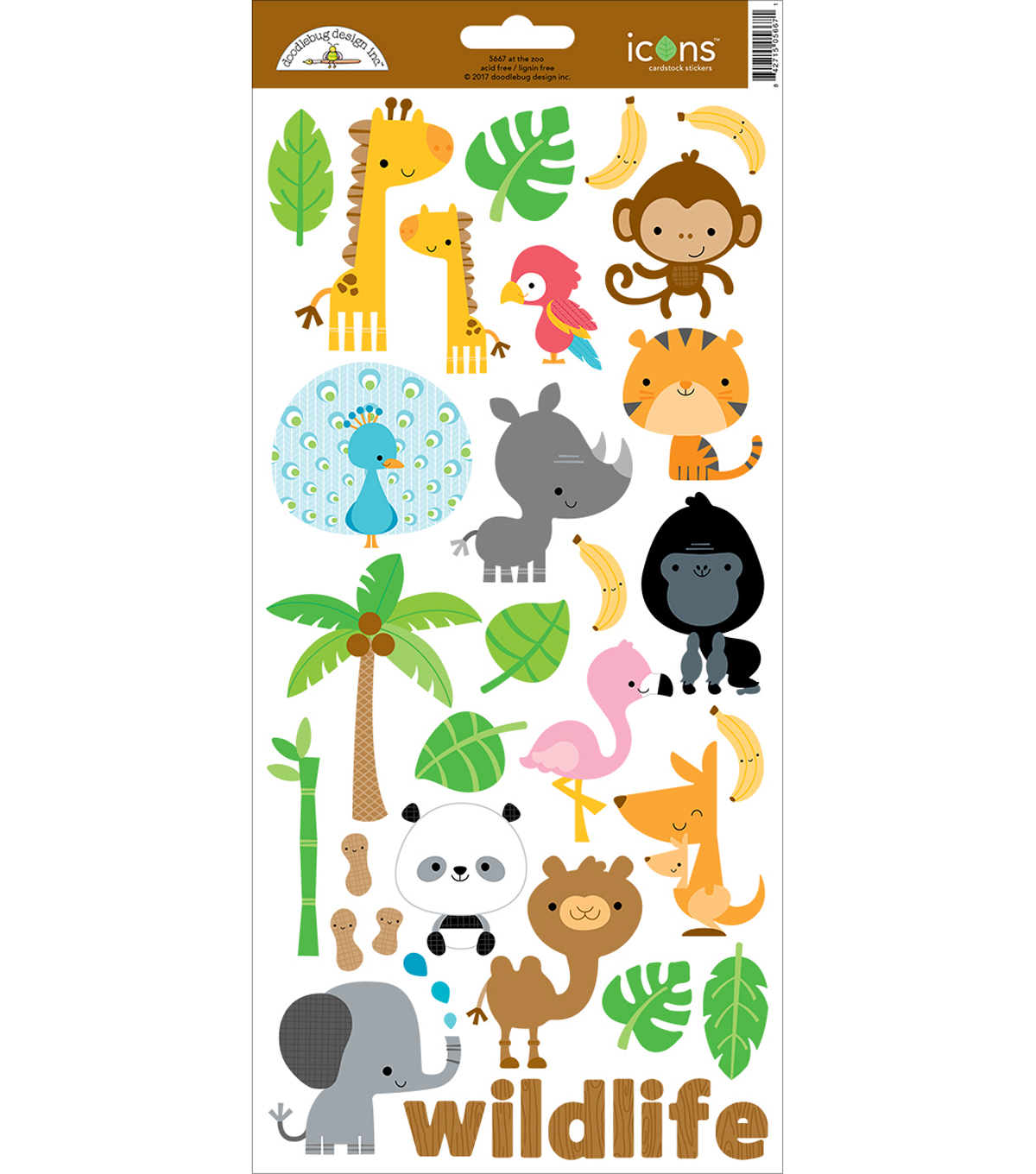 At The Zoo Cardstock Stickers 6\u0022X13\u0022-Icons #1