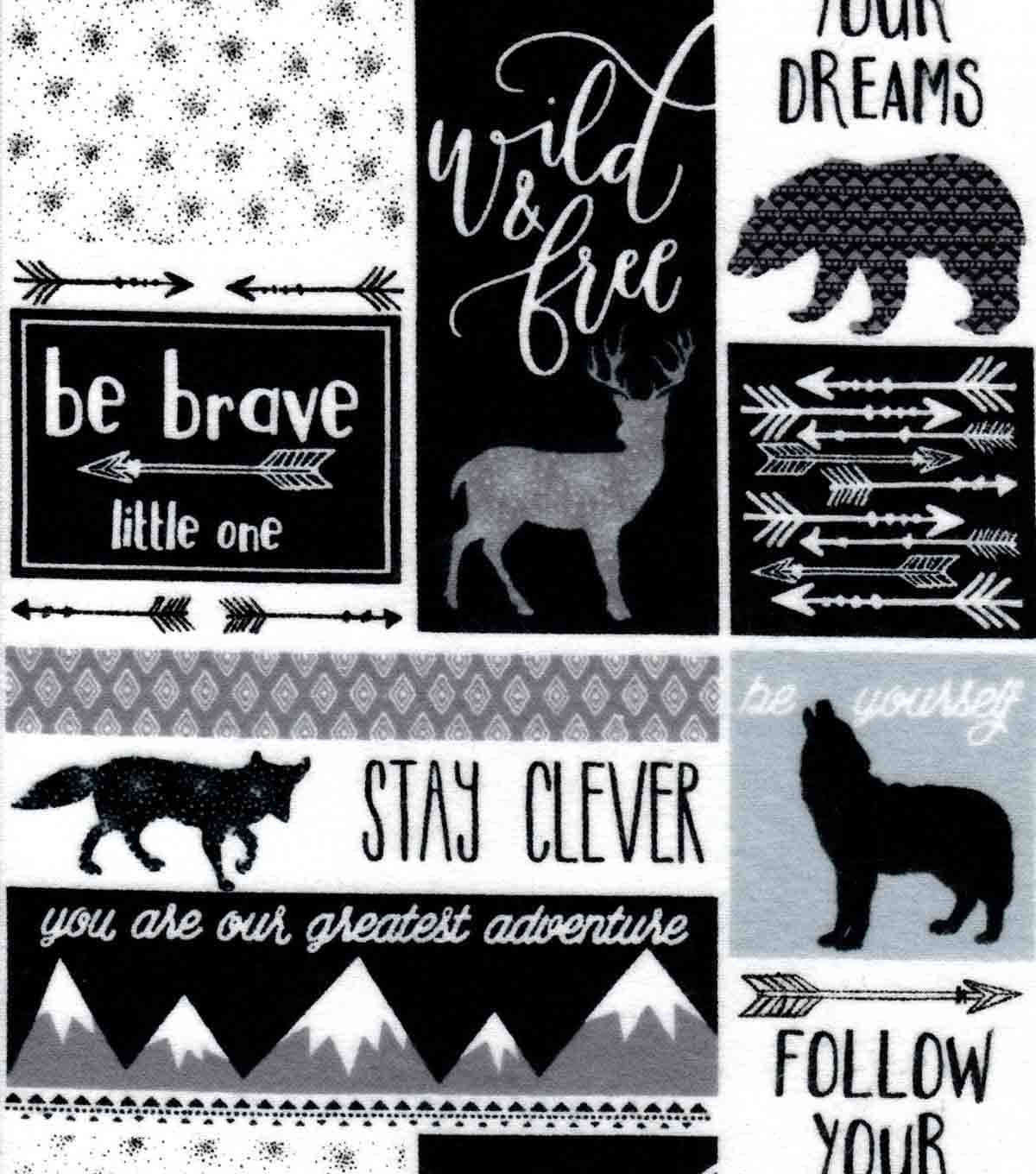Nursery Flannel Fabric 42\u0022-Be Brave Patch