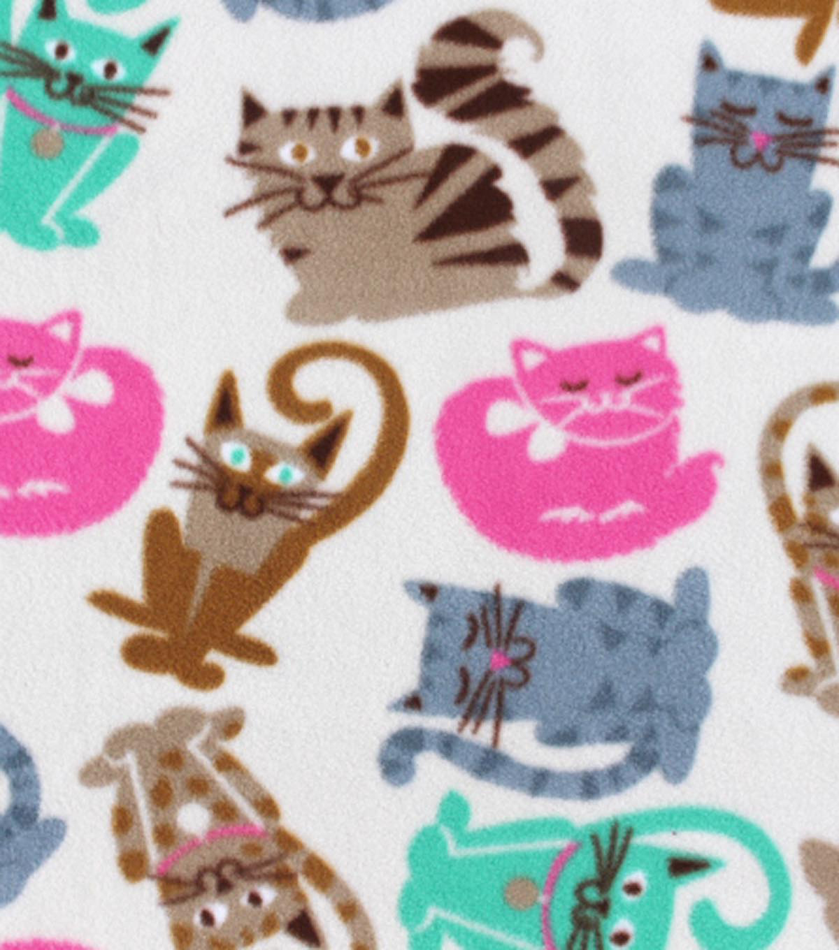 Anti-Pill Fleece Fabric 59\u0022-Cat Breeds