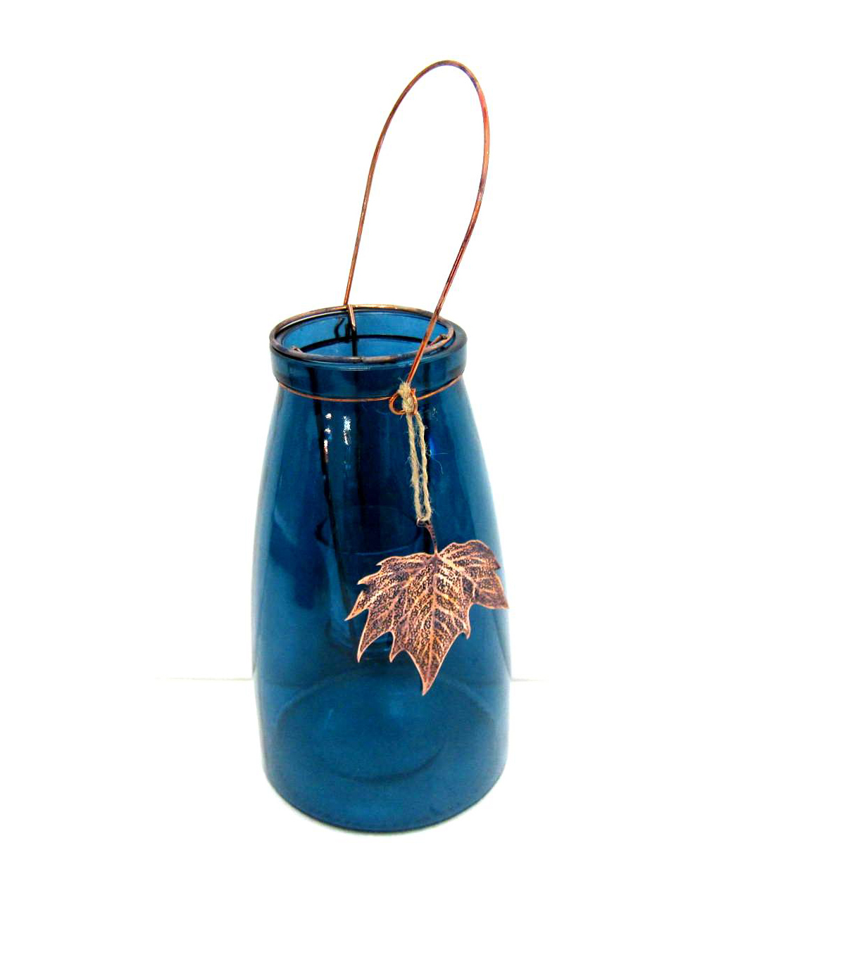 Fall Into Color Glass Candle Jar with Leaf-Teal