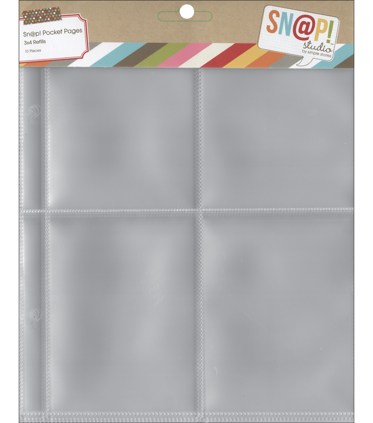 Sn@p! Pocket Pages For 6\u0022X8\u0022 Binders-(4) 3\u0022X4\u0022 Pockets