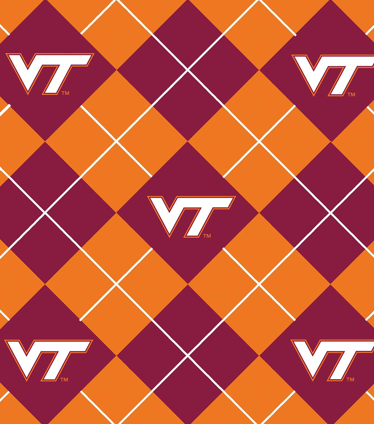 Virginia Tech Hokies Fleece Fabric 58\u0022-Argyle