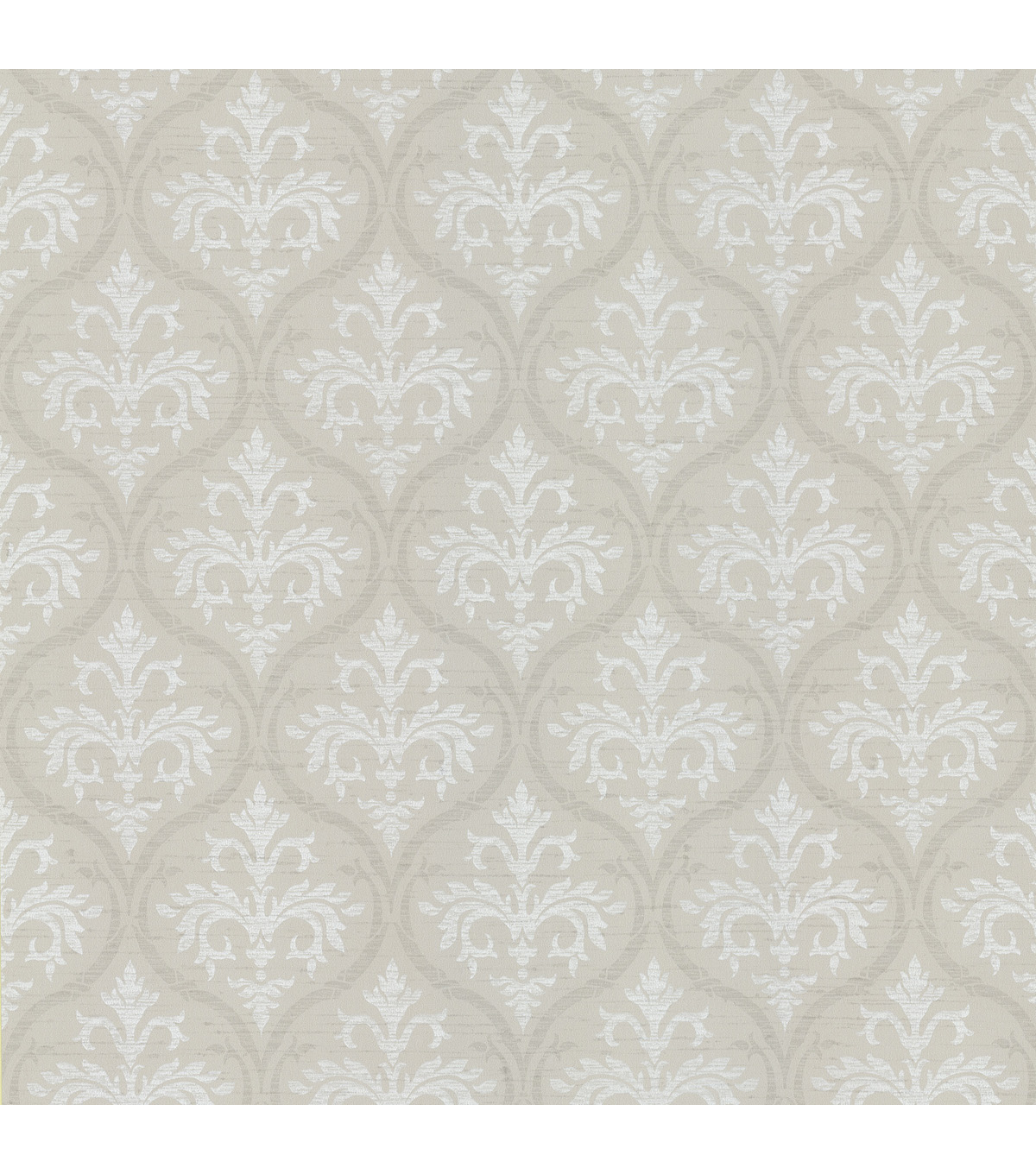 Florence Cream Ogee Damask Wallpaper Sample