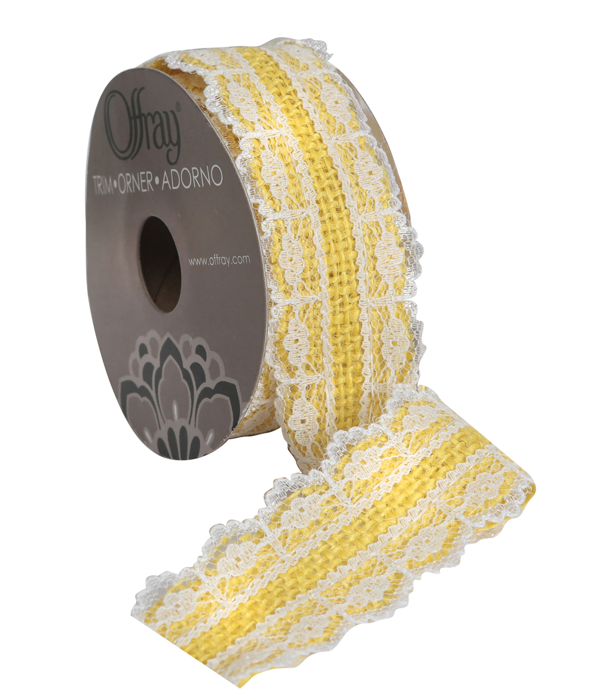 Burlap W Lace 1 And Half In Yellow Adhs Ribbon