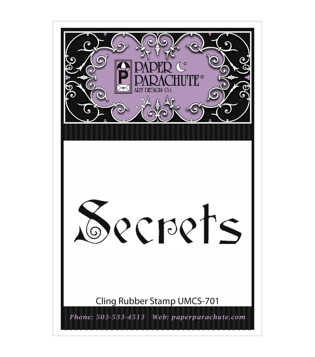Paper Parachute Cling Rubber Stamps-Secrets