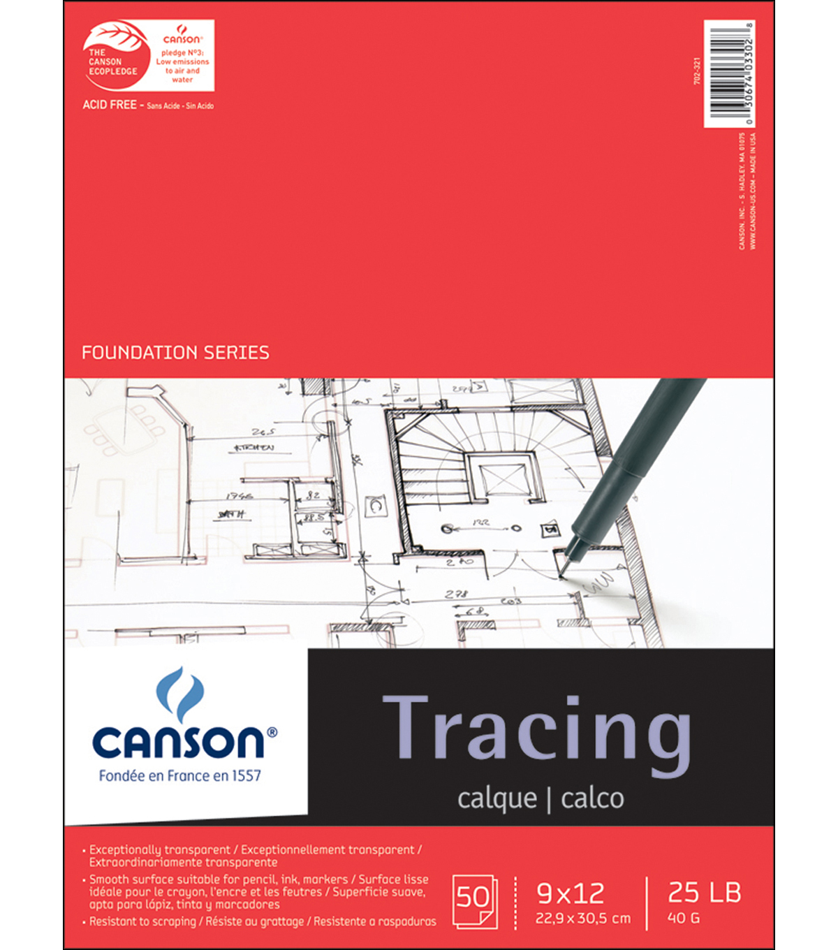 Canson Foundation Series Tracing Paper Pad 9\u0022X12\u0022-50 sheets