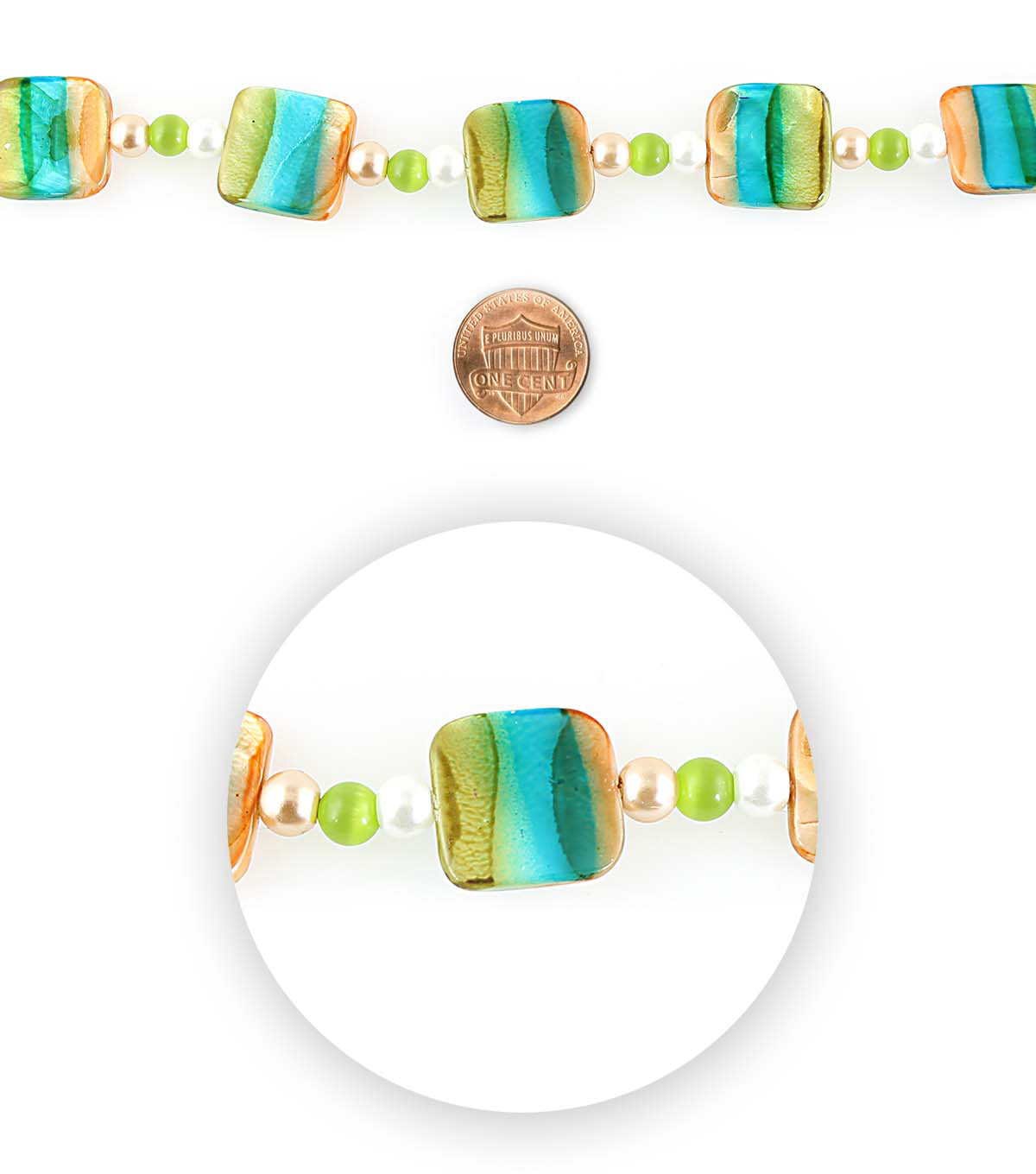 Blue Moon Bead Strands Shell Squares Blue Green