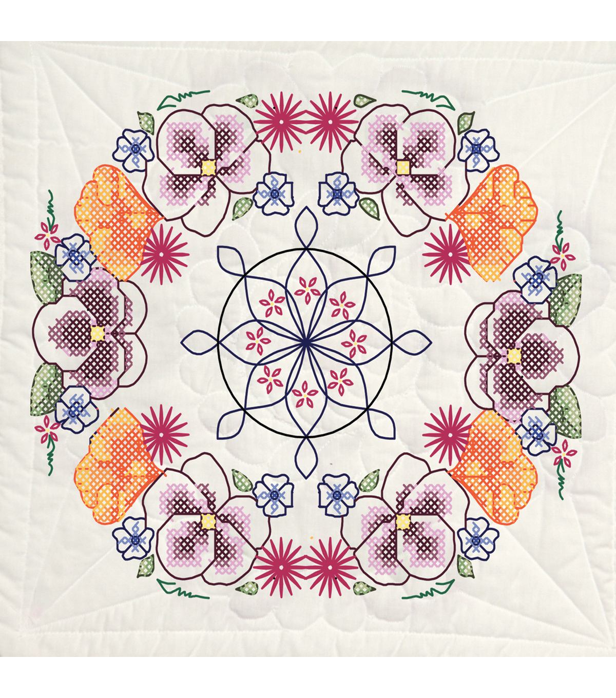 Fairway Stamped Quilt Blocks Pansy Circle