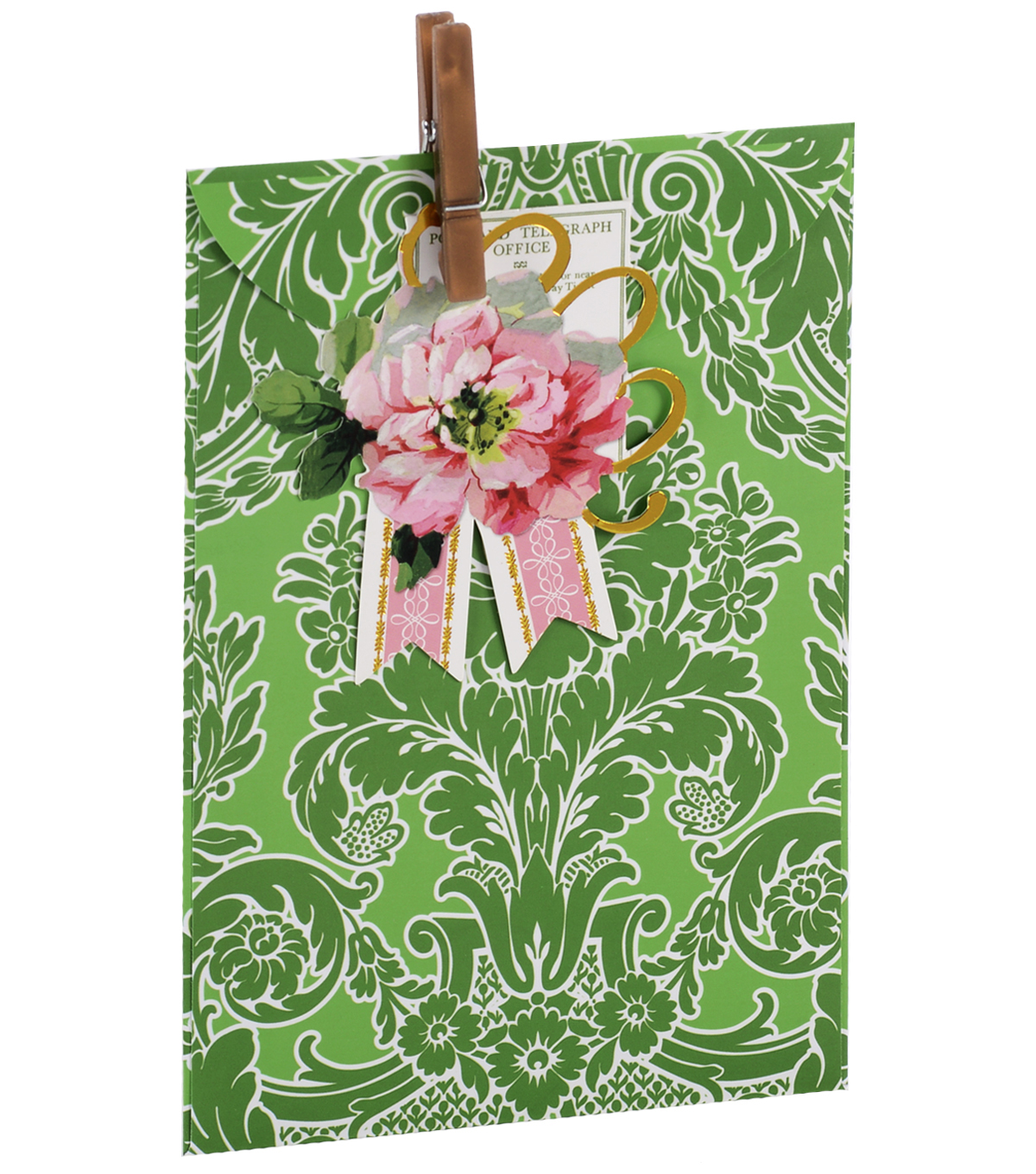 Anna Griffin Green Damask Treat Bag 4 Count