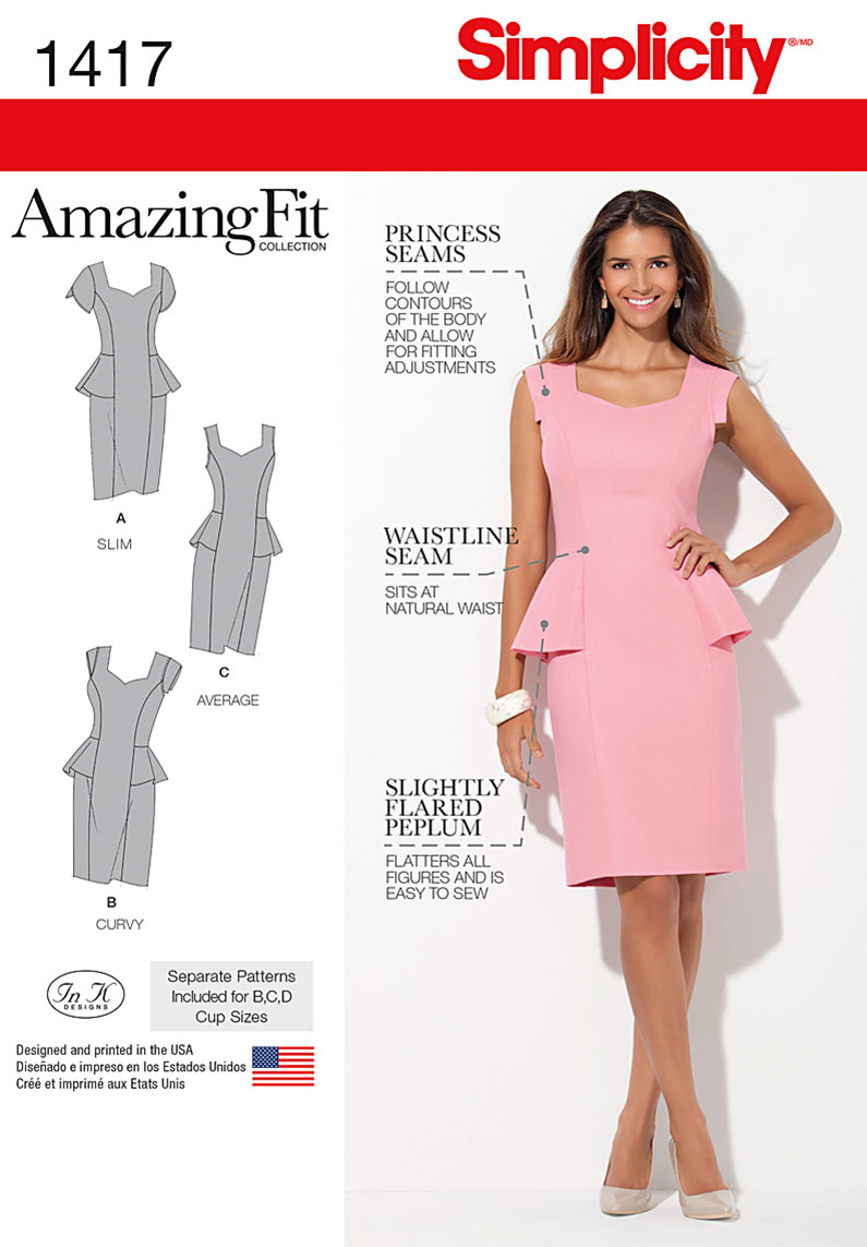 Simplicity Pattern 1417AA 10-12-14-1-Misses Dresses