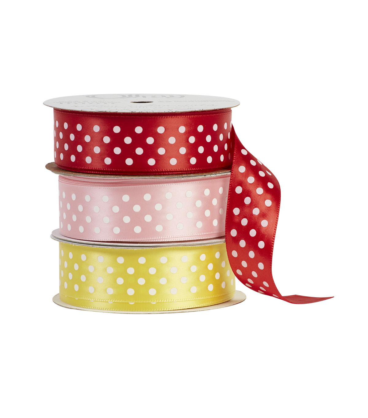 Offray 7/8\u0022x9\u0027 Satin Dots Single Faced Satin Ribbon