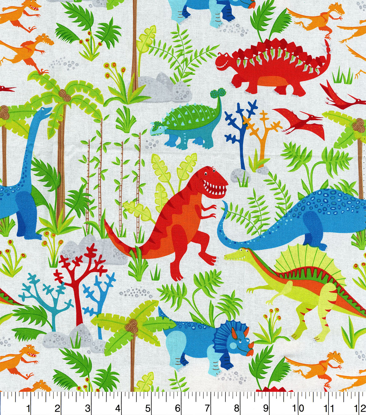 Novelty Cotton Fabric 44\u0022-Dinosaurs