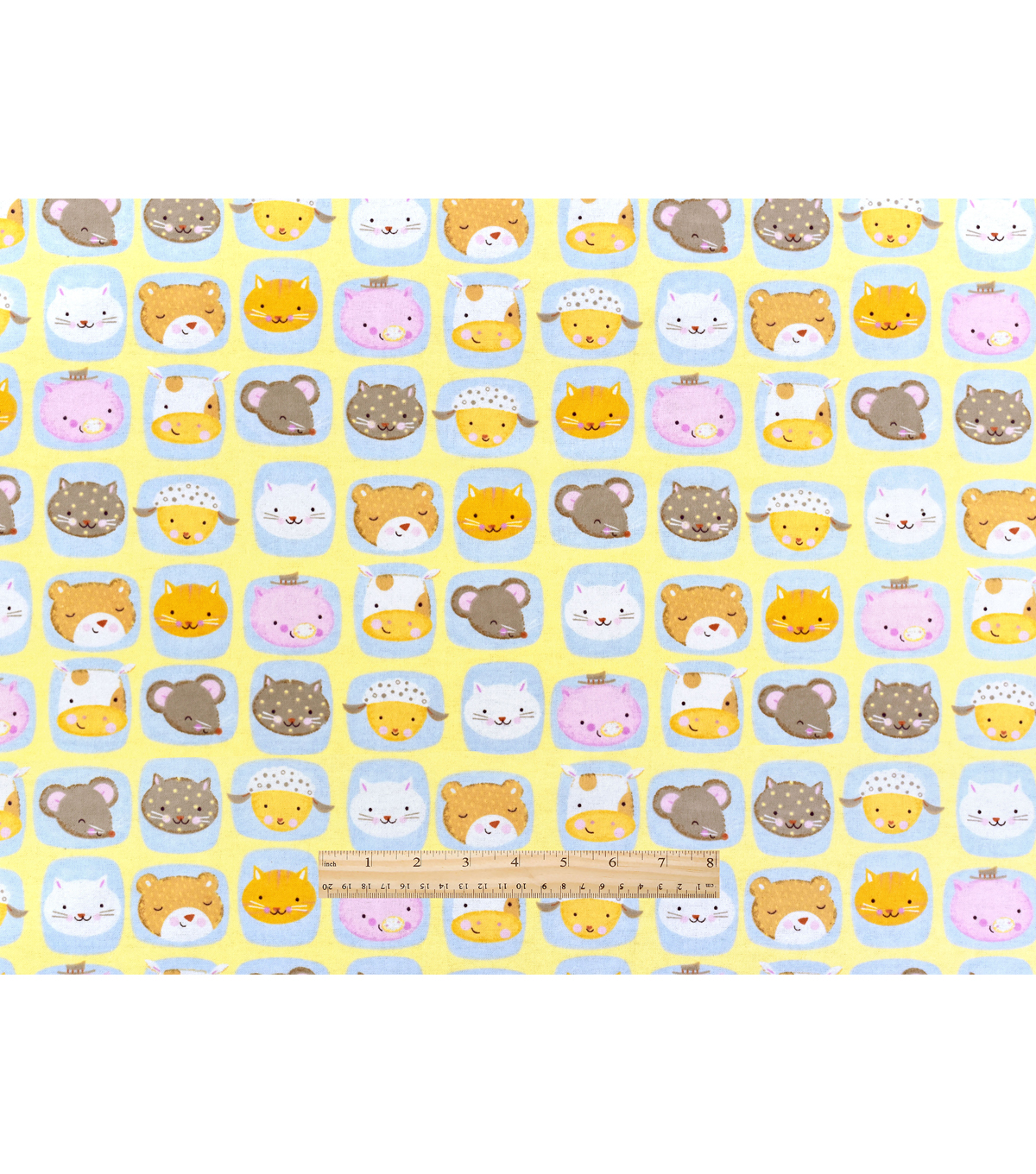 "Nursery Flannel Fabric 42""-Rhymes Animal Faces"