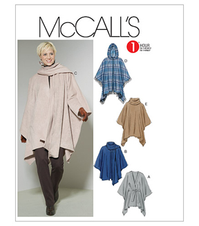 McCall's Pattern M6209-Misses' Ponchos and Belt